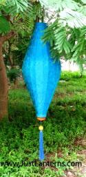 Turquoise Asian Lanterns - Vietnamese Turquoise Silk Lanterns