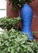 Blue Asian Lanterns - Vietnamese Blue Silk Lanterns