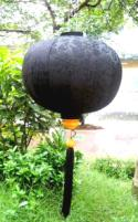 Black Asian Lanterns - Vietnamese Black Silk Lanterns