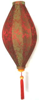 Red and Green Overtone silk  Asian Lanterns - Vietnamese Red Silk and Green Overtone Silk Lanterns