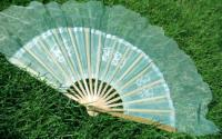 Light Teal Silk Dance Fan