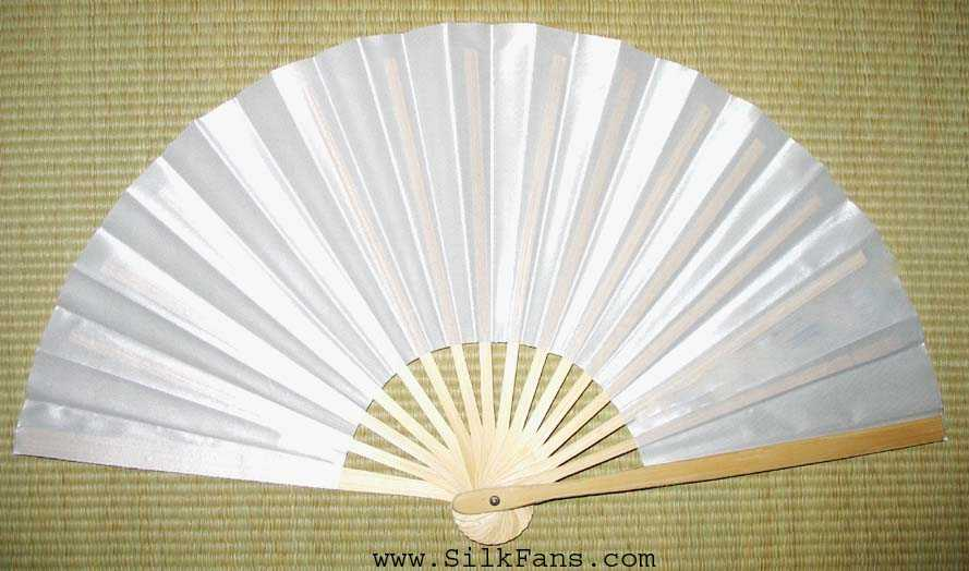 White Glossy Silk Fan Without Stand