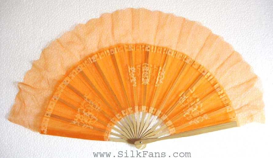 Orange Silk Dance Fan