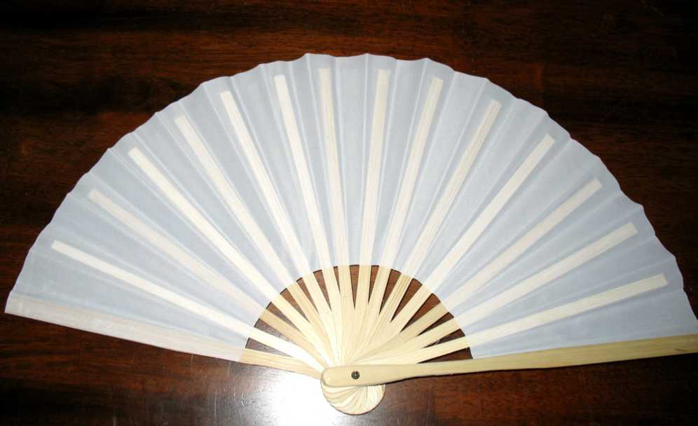 White Silk Fan Without Stand