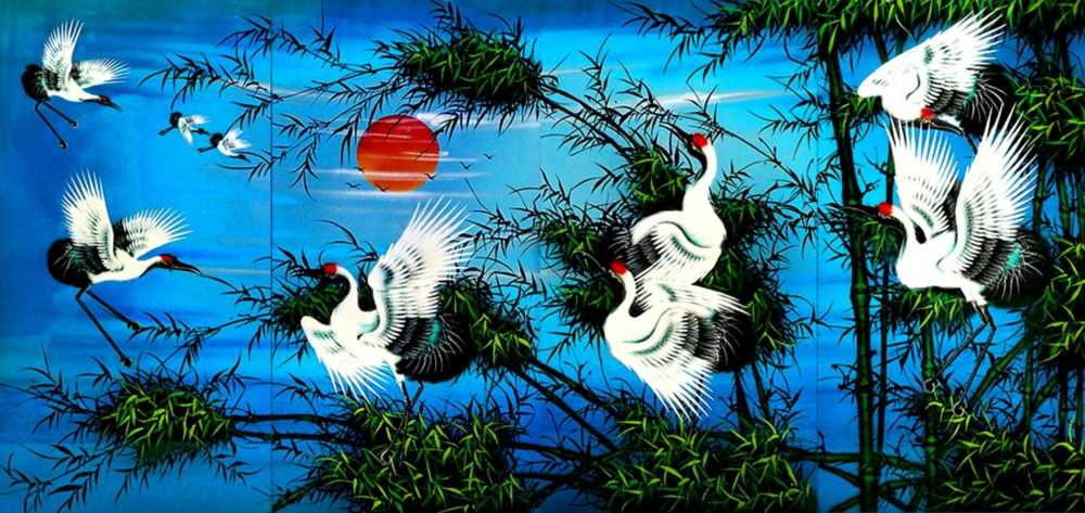 White Cranes and Bamboo