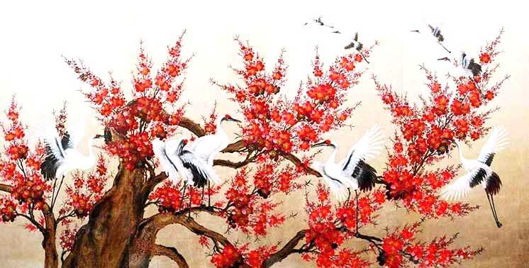 Cranes and Red Cherry Blossom