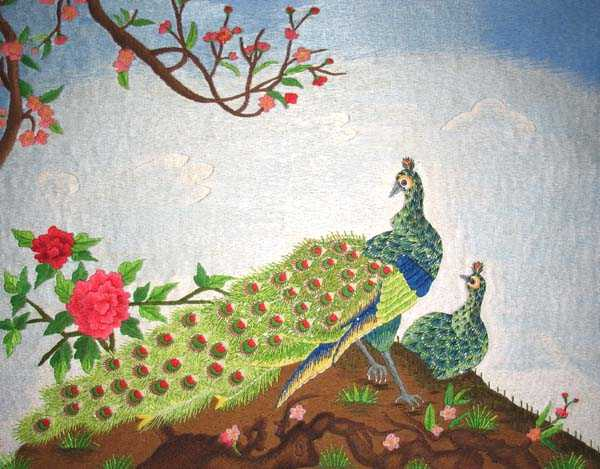 Peacock and Roses