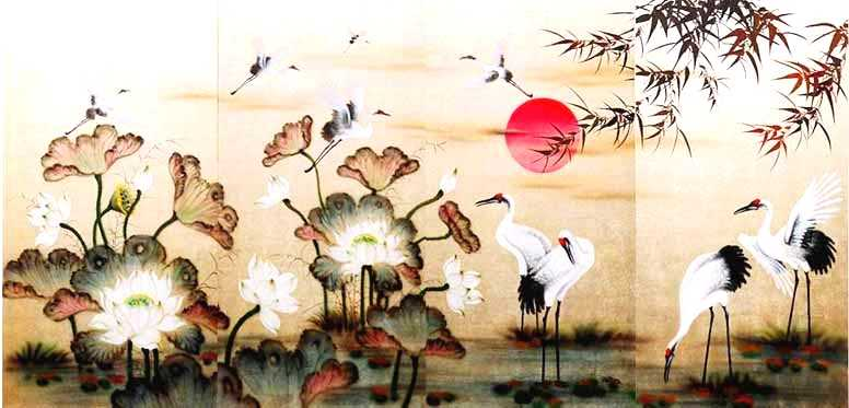 Cranes and White Lotus