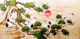 Cranes on Pine Tree