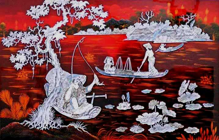 Image result for lacquer painting in vietnam