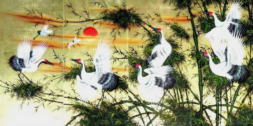 Cranes and Green Bamboo