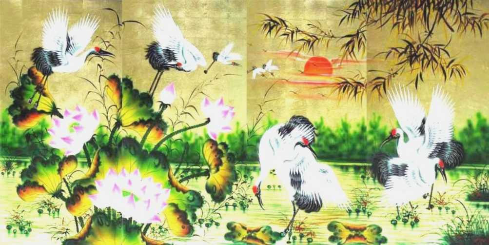 Cranes and Lotus