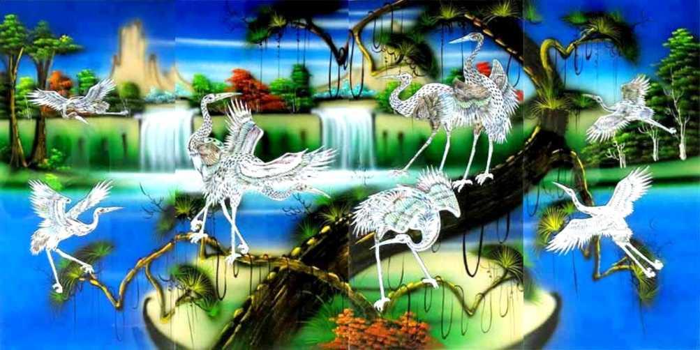 Cranes/Blue Set